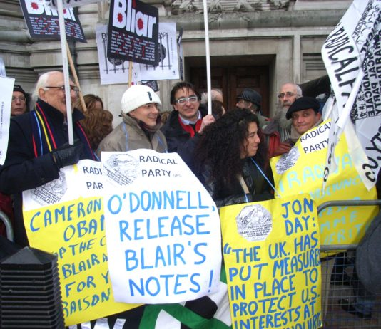 Part of the hundreds protesting outside the Chilcot Inquiry yesterday demanding that Blair's notes be released