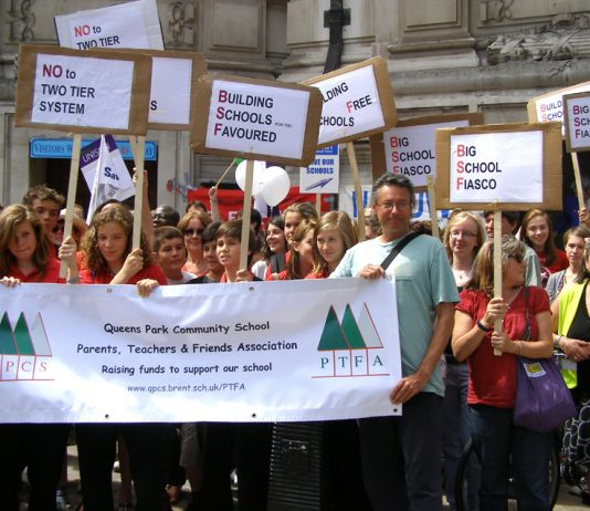 Students and teachers join together in a Westminster demonstration last July against the coalition's 'Big School Fiasco'