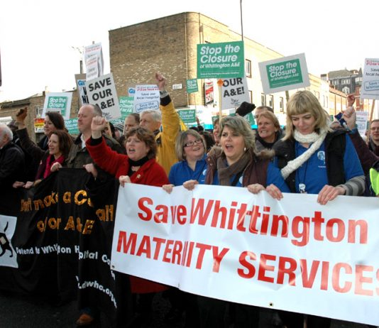 Midwives, local residents and other health workers demonstrate in defence of maternity and A&E services at Whittington Hospital in north London