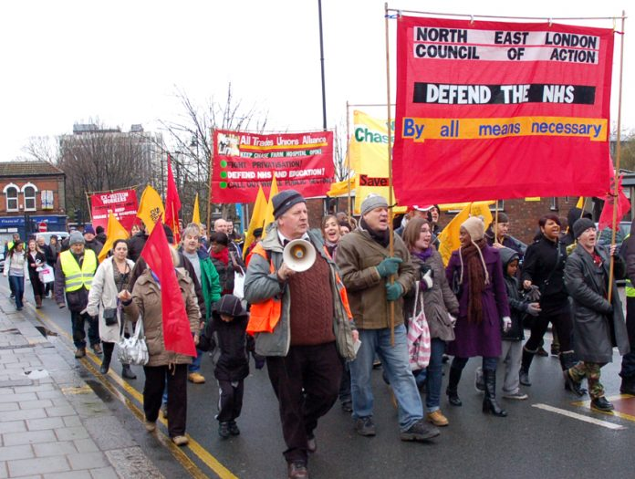 North East London Council of Action demonstration in Enfield last month demanding that Chase Farm Hospital be kept open