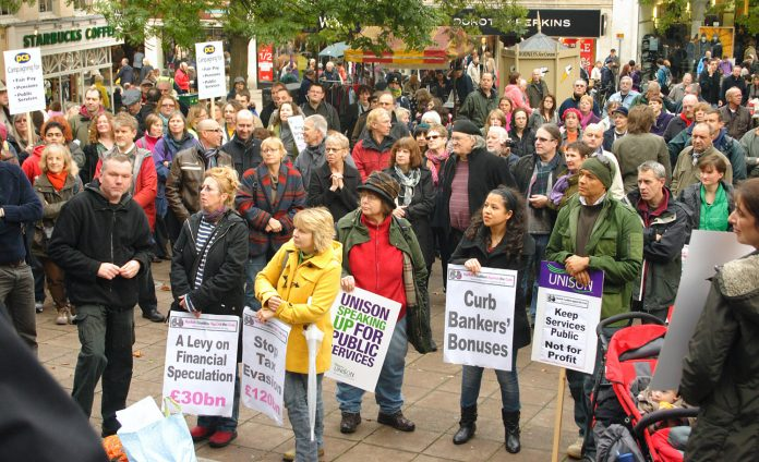 Workers in Norwich rally against the coalition's cuts – they are demanding that the TUC take action against the government