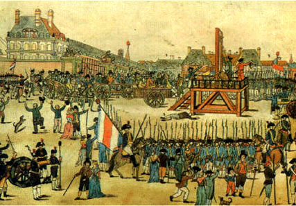 A painting showing the guillotine that was used to behead aristocrats after the French Revolution