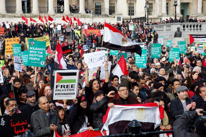 A section of the 2,000 strong rally on Saturday in Trafalgar Square
