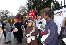 A section of yesterday morning's picket of Chase Farm Hospital