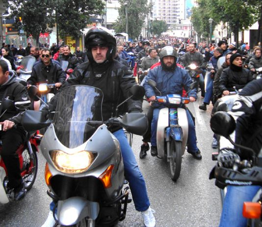 Greek transport workers demonstration led by a cavalcade of 200 motorcyclists in Athens