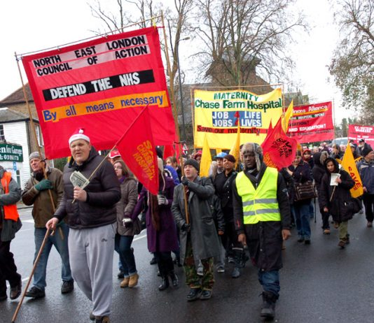 March against the closure of Chase Farm Hospital in Barnett