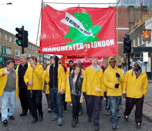 Young Socialists in London last November at the end of their three week march for jobs and Free State Education