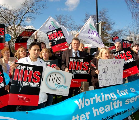 Unison leader DAVE PRENTIS at a 'Keep the NHS Working' rally in Kingston in 2007