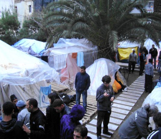 Tents in Athens where the hunger strikers are living