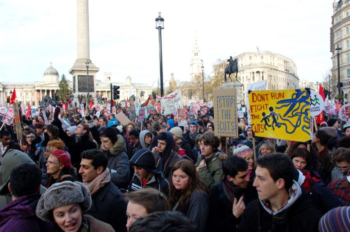 Masses of students marching on parliament last December were joined by trade unionists who backed their fight against tuition fees. Now the government is planning a showdown with the trade unions in the summer