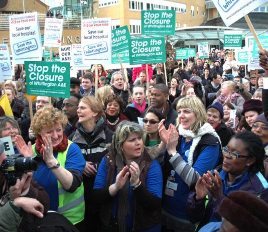 Thousands of workers rallied last year outside Whittington Hospital in north London to stop it from closing. Now the government is threatening to close NHS hospitals up and down the country