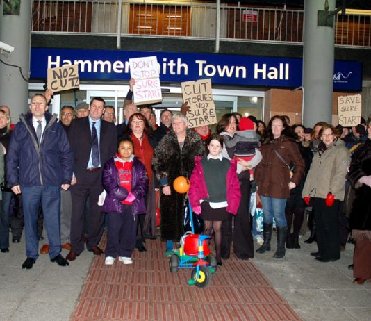 Families demonstrating outside Hammersmith Town Hall in west London against the Tory-LibDem coalition's savage cuts programme, which also means savage cuts in wages, pensions and benefits