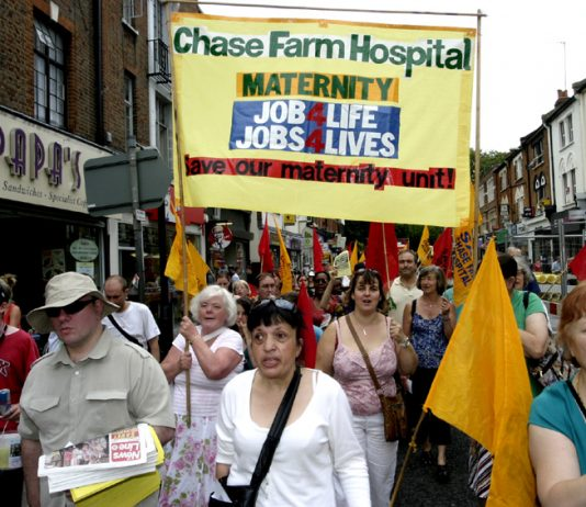 Maternity Unit banner on a march in Enfield against the closure of the Chase Farm Hospital