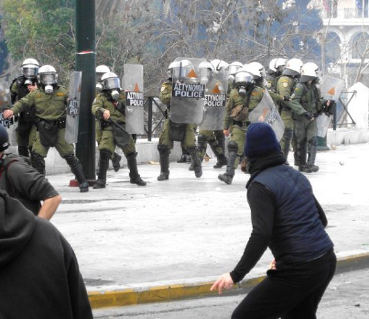 Greek youth confront the hated Greek riot police