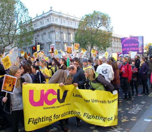 Students and lecturers marching in London last November against the introducton of £9,000 tuition fees