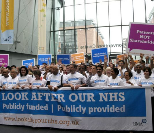 Doctors demonstrate their opposition to the privatisation of the National Health Service at their Annual Representative Meeting of the BMA