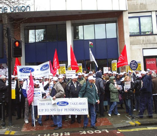 Visteon workers lobby the Unite head offices demanding action to defend their pensions