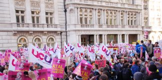 UCU members marching with students last November against education cuts