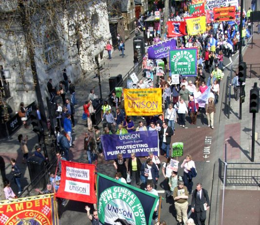 Union banners from Sheffield, Derby, London and other towns and cities as workers converge on London last April, warning of devastating attacks on public services