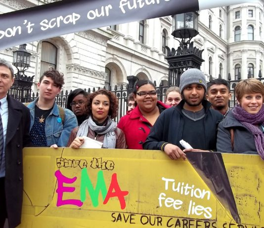 Dave Prentis, the leader of Unison (left), with students from Hackney BSix College outside Downing Street yesterday