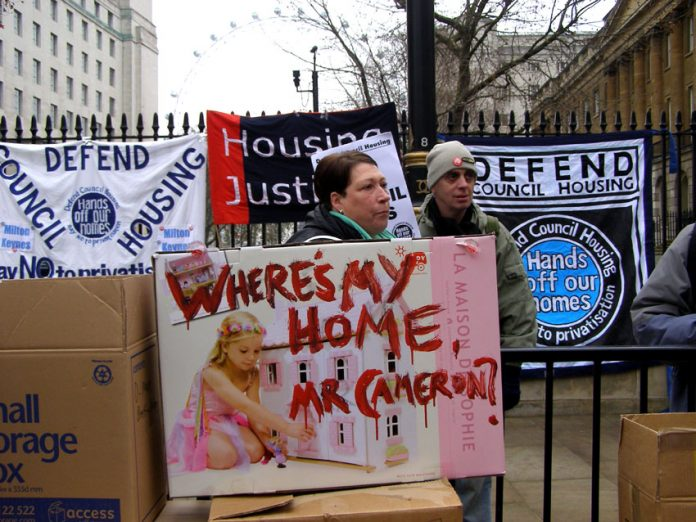 Tenants demonstrate outside Downing Street against attacks on council housing and housing benefit rights for tenants