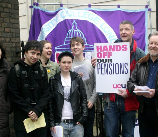 Students join lecturers on the picket line outside University College London yesterday morning
