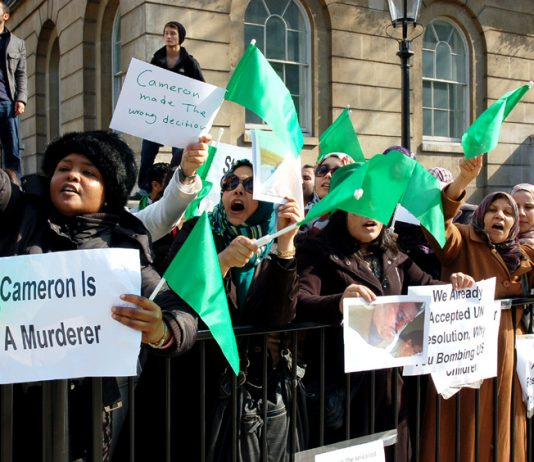 Libyan demonstrators at 10 Downing Street on Monday indict Cameron and imperialism and declare their support for Colonel Gadaffi