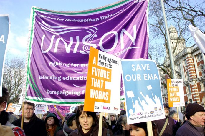 Lecturers and students were supported by other trades unions on the January march in Manchester