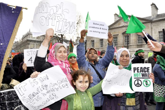 Libyan women took part in last Saturday's TUC demonstration and urged British workers to stop the war on their country