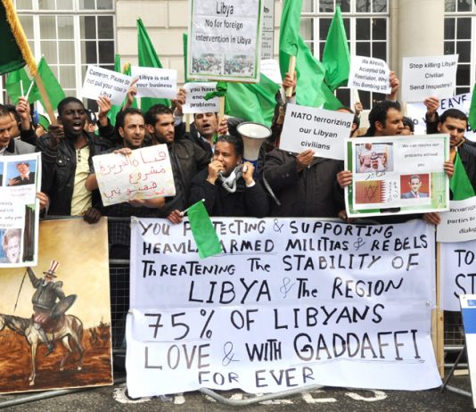 A section of the 200-strong Libyan lobby of the Lancaster House conference in London yesterday