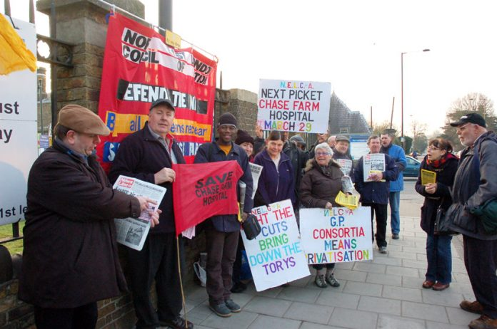 The early morning picket outside Chase Farm Hospital