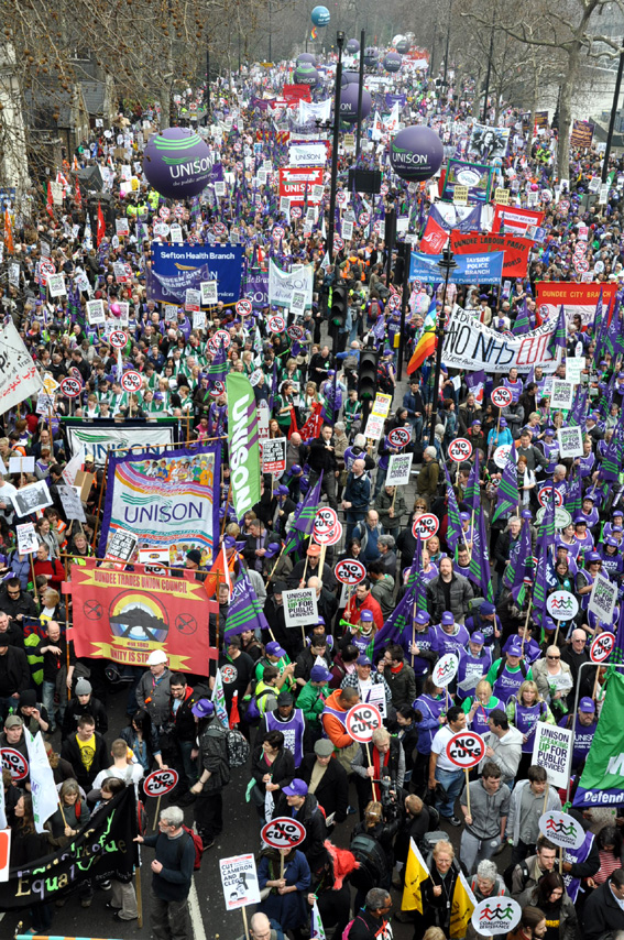 Unison members with their banners and balloons on last Saturday's TUC demonstration against the cuts