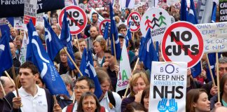 Health workers last Saturday's 500,000-strong TUC demonstration in London against the government's cuts
