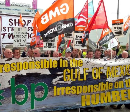 Locked-out Hull construction workers joined environmentalists outside the BP shareholders AGM in Docklands yesterday