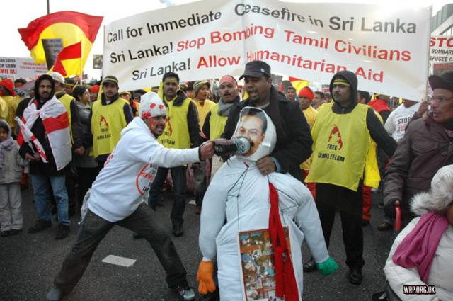 A mass demonstration in London against the slaughter of Tamils in the North of Sri Lanka