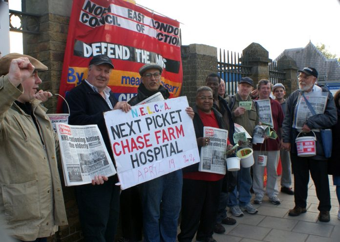 Picket outside Chase Farm Hospital early on Tuesday morning