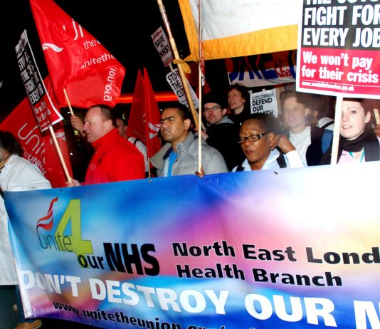 Barts and Royal London staff and supporters marched against mass sackings last month