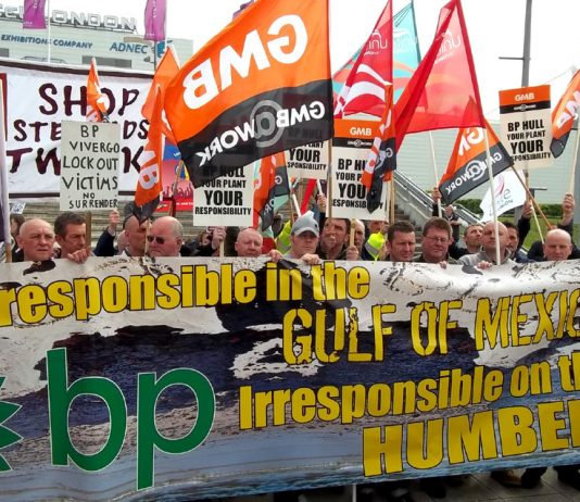 Workers demonstrate outside the recent shareholders' meeting of BP in London, with a banner saying: 'Irresponsible in the Gulf of  Mexico, Irresponsible on the Humber'