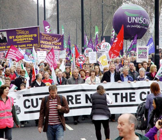The 500,000-strong TUC demonstration on March 26, with the lead banner insisting 'cuts are not the cure'