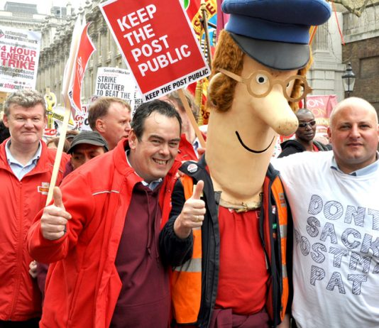 Postal workers take part in last month's massive TUC demonstration against the cuts, showing their opposition to privatisation and Mail Centre closures