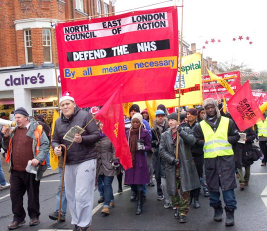 March on December 4th 2010 to defend Chase Farm Hospital in Enfield