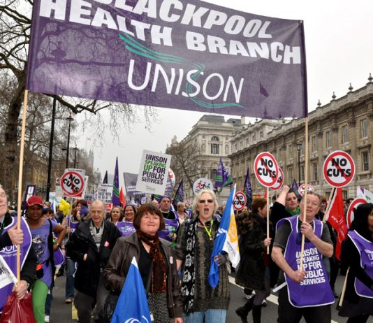Blackpool Health Unison members on the 500,000-strong TUC march against cuts on March 26