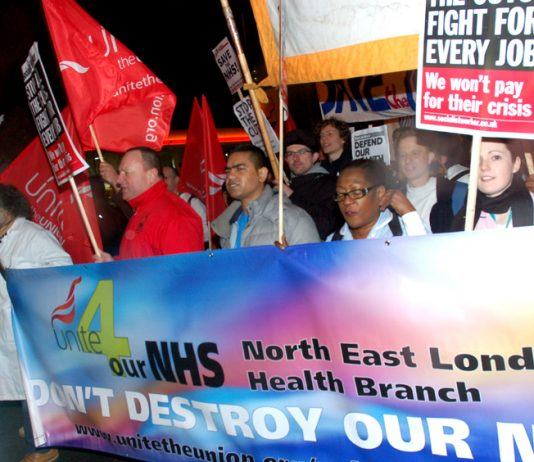 March from Barts Hospital last month demanding it be kept open – in February the trust announced 635 jobs will be cut