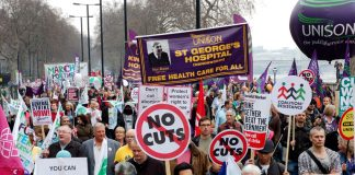 St George's Hospital Unison on the giant TUC march against cuts. Some 500 posts are threatened at St George's