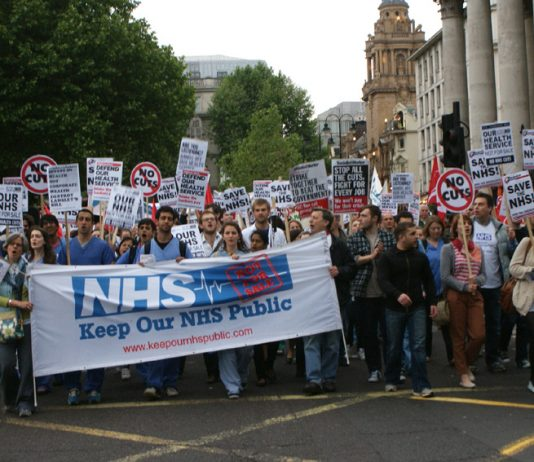 Over 5,000 health workers and other trade unionists marched to the Department of Health on Tuesday, demanding withdrawal of the government's Health and Social Care Bill