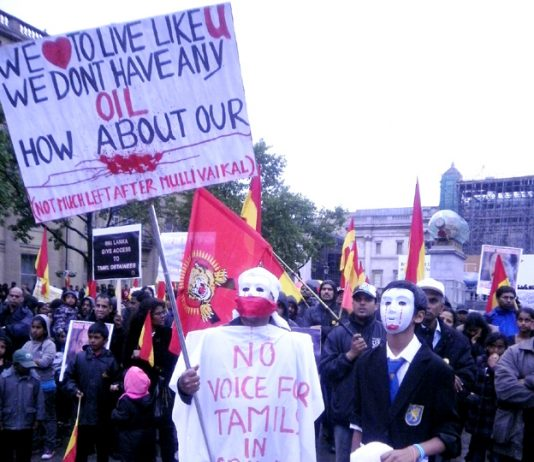 Tamils at the Trafalgar Square rally on Wednesday night with a clear message