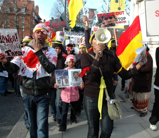 Tamils in London demonstrate against the Sri Lankan Army massacre of Tamils in 2009