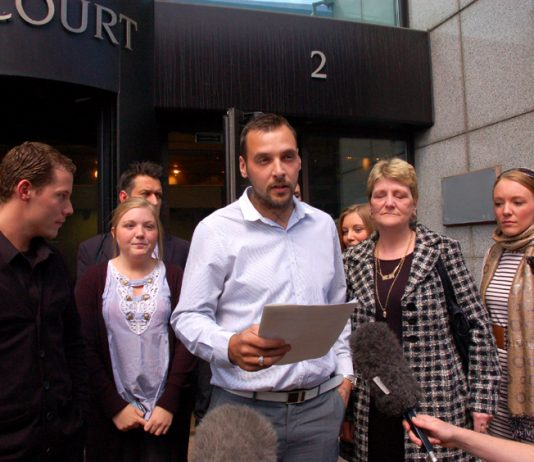 PAUL KING, stepson of Ian Tomlinson, addressing the press outside the office of the Crown Prosecution Service yesterday
