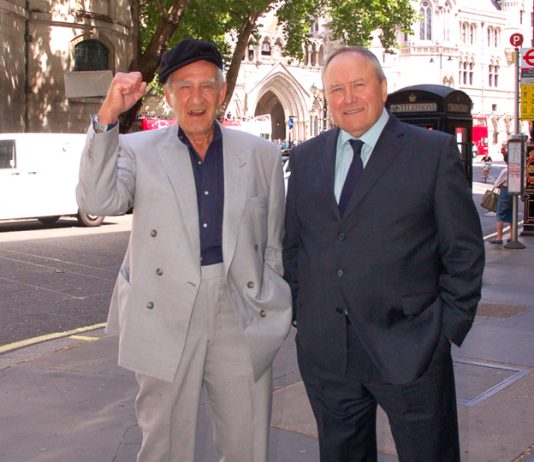 PETER CHAPPELL and GEORGE DAVIS celebrate their victory outside the Court of Appeal on Tuesday