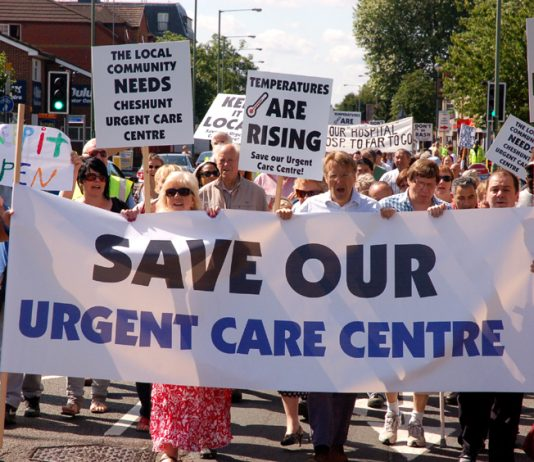 Demonstration in Cheshunt to stop the closure of the Urgent Care Centre